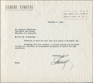 SIGMUND ROMBERG - TYPED LETTER SIGNED