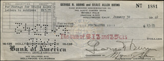 GEORGE BURNS - AUTOGRAPHED SIGNED CHECK 01/30/1942