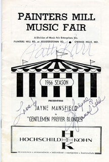 GENTLEMEN PREFER BLONDES PLAY CAST - PROGRAM SIGNED 1966 CO-SIGNED BY: PATTI KARR, JAYNE MANSFIELD