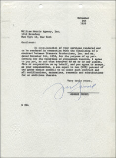 GEORGE JESSEL - DOCUMENT SIGNED 11/05/1958