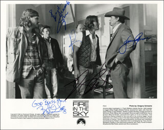 FIRE IN THE SKY MOVIE CAST - AUTOGRAPHED SIGNED PHOTOGRAPH CO-SIGNED BY: JAMES GARNER, ROBERT PATRICK, CRAIG SHEFFER, BRADLEY GREGG, PETER BERG