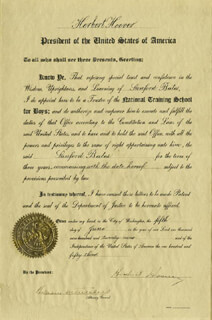 PRESIDENT HERBERT HOOVER - CIVIL APPOINTMENT SIGNED 06/05/1929 CO-SIGNED BY: WILLIAM D. MITCHELL