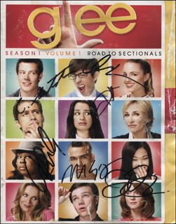 GLEE TV CAST - DVD/CD COVER SIGNED CO-SIGNED BY: CORY MONTEITH, KEVIN McHALE, JENNA USHKOWITZ, DIANNA AGRON, AMBER RILEY, MARK SALLING