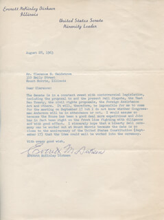 EVERETT M. DIRKSEN - TYPED LETTER SIGNED 08/28/1963