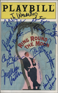 Autographs: RING ROUND THE MOON PLAY CAST - SHOW BILL SIGNED CO-SIGNED BY: SIMON JONES, JOHN NEWTON, JOYCE VAN PATTEN, FRITZ WEAVER, TOBY STEPHENS, MARIAN SELDES, DEREK DAVID SMITH, CANDY BUCKLEY, PHILIP HOFFMAN, RICHARD CLARKE, GRETCHEN EGOLF, HAVILAND MORRIS