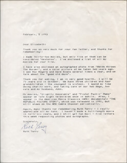 RUTH TERRY - TYPED LETTER SIGNED 02/05/1993