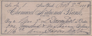 FANNY DAVENPORT - AUTOGRAPHED SIGNED CHECK 02/03/1888 CO-SIGNED BY: FANNY VINING