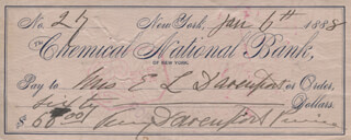 FANNY DAVENPORT - AUTOGRAPHED SIGNED CHECK 01/06/1888 CO-SIGNED BY: FANNY VINING