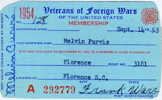 MELVIN H. PURVIS - PRINTED CARD SIGNED IN INK 09/14/1953