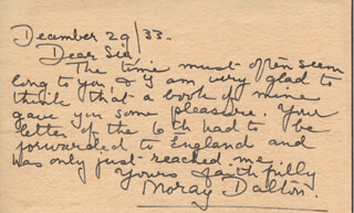 MORAY (KATHERINE MARY) DALTON - AUTOGRAPH LETTER SIGNED 12/29/1933
