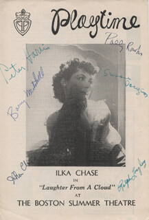 LAUGHTER FROM A CLOUD PLAY CAST - SHOW BILL SIGNED CO-SIGNED BY: ILKA CHASE, CYNTHIA LATHAM, SUSAN DOUGLAS, POLLY ROWLES, PETER HARRIS, BARRY MITCHELL, RALPH LONGLEY