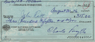 CHARLES FORSYTHE - AUTOGRAPHED SIGNED CHECK 08/30/1976 CO-SIGNED BY: JOHN RAITT