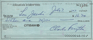 CHARLES FORSYTHE - AUTOGRAPHED SIGNED CHECK 07/07/1977 CO-SIGNED BY: LOU JACOBI