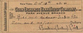 BEATRICE LILLIE - AUTOGRAPHED SIGNED CHECK 10/12/1931