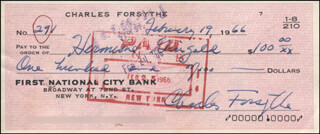 CHARLES FORSYTHE - AUTOGRAPHED SIGNED CHECK 02/19/1966 CO-SIGNED BY: HERMIONE GINGOLD