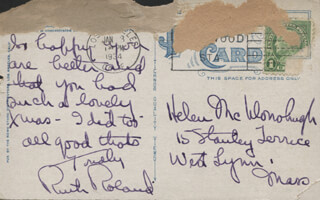 RUTH ROLAND - AUTOGRAPH LETTER SIGNED CIRCA 1934