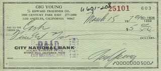 GIG YOUNG - AUTOGRAPHED SIGNED CHECK 03/15/1974