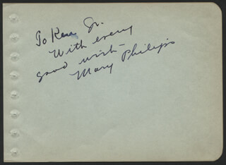 MARY PHILIPS - AUTOGRAPH NOTE SIGNED