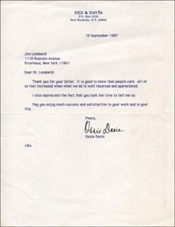 Autographs: OSSIE DAVIS - TYPED LETTER SIGNED 09/16/1987