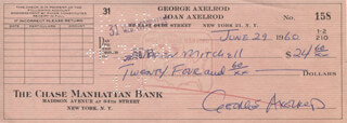 GEORGE AXELROD - AUTOGRAPHED SIGNED CHECK 06/29/1960