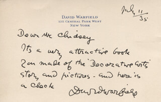 DAVID WARFIELD - AUTOGRAPH LETTER SIGNED 07/11/1935