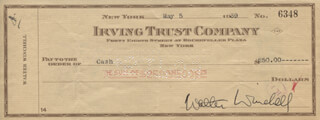 WALTER KING OF BROADWAY WINCHELL - AUTOGRAPHED SIGNED CHECK 05/05/1939