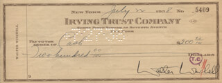 WALTER KING OF BROADWAY WINCHELL - AUTOGRAPHED SIGNED CHECK 07/22/1938
