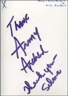 ARMY ARCHERD - AUTOGRAPHED SIGNED PHOTOGRAPH CO-SIGNED BY: SELMA ARCHERD