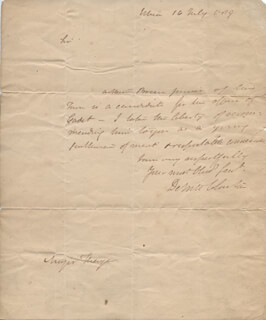 GOVERNOR DEWITT CLINTON - AUTOGRAPH LETTER SIGNED 07/16/1819