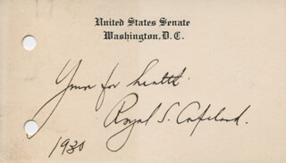Autographs: ROYAL SAMUEL COPELAND - AUTOGRAPH SENTIMENT SIGNED