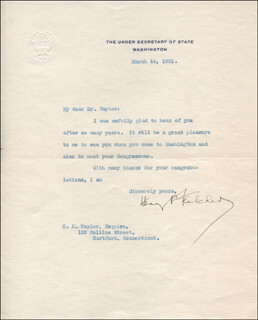 Autographs: HENRY PRATHER FLETCHER - TYPED LETTER SIGNED 03/14/1921