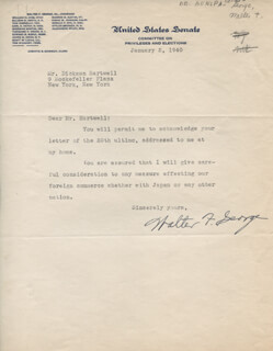 WALTER F. GEORGE - TYPED LETTER SIGNED 01/02/1940