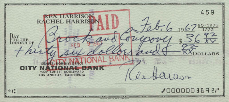 REX HARRISON - AUTOGRAPHED SIGNED CHECK 02/06/1967