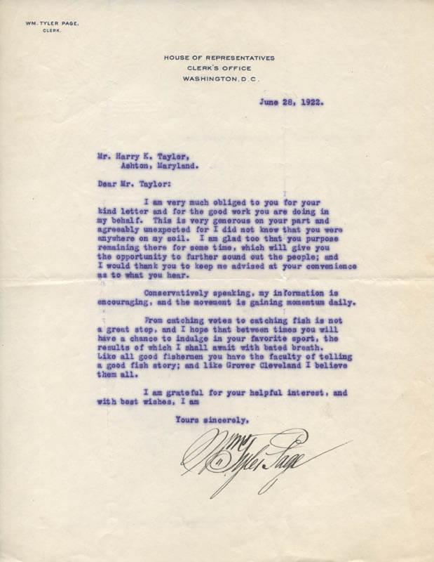 WILLIAM TYLER PAGE - TYPED LETTER SIGNED 06/28/1922