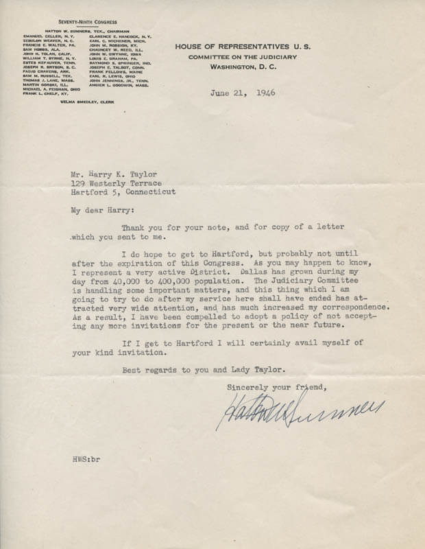 HATTON W. SUMNERS - TYPED LETTER SIGNED 06/21/1946