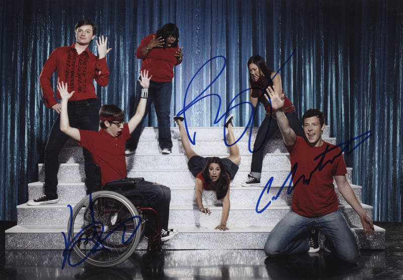 GLEE TV CAST - AUTOGRAPHED SIGNED PHOTOGRAPH CO-SIGNED BY: CORY MONTEITH, KEVIN McHALE, RYAN MURPHY