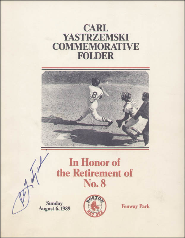 CARL YAZ YASTRZEMSKI - PROGRAM SIGNED CIRCA 1989