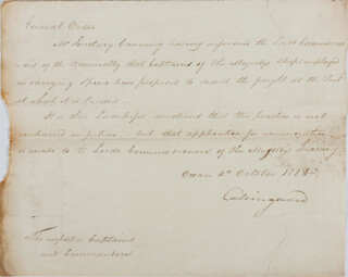 Autographs: VICE ADMIRAL CUTHBERT (BARON COLLINGWOOD) COLLINGWOOD - AUTOGRAPH DOCUMENT SIGNED 10/04/1808