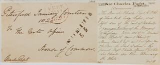 Autographs: VICE ADMIRAL CHARLES PAGET - FREE FRANK SIGNED 01/14/1820