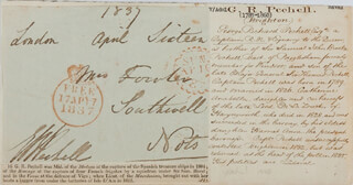 VICE ADMIRAL GEORGE R. BROOKE-PECHELL - FREE FRANK SIGNED 04/16/1837