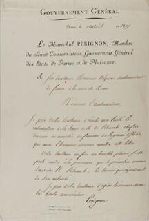 Autographs: MARSHAL CATHERINE-DOMINIQUE DE PERIGNON - DOCUMENT SIGNED 08/10/1807
