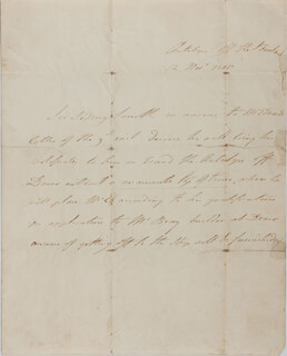 ADMIRAL SIDNEY SMITH - THIRD PERSON AUTOGRAPH LETTER 11/12/1805