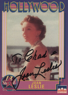 JOAN LESLIE - INSCRIBED TRADING/SPORTS CARD SIGNED