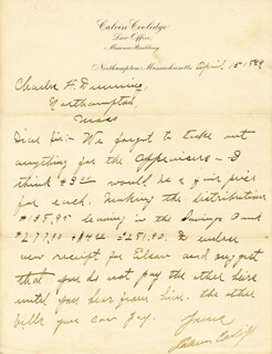 PRESIDENT CALVIN COOLIDGE - AUTOGRAPH LETTER SIGNED 04/15/1899