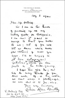 CHARLES RANN KENNEDY - AUTOGRAPH LETTER SIGNED 07/02/1940