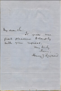 HENRY JARVIS RAYMOND - AUTOGRAPH LETTER SIGNED