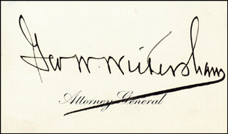 GEORGE W. WICKERSHAM - CALLING CARD SIGNED