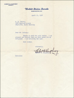 VICE PRESIDENT HUBERT H. HUMPHREY - TYPED LETTER SIGNED 04/16/1958