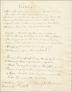 GEORGE W. BETHUNE - AUTOGRAPH POEM SIGNED 03/09/1846
