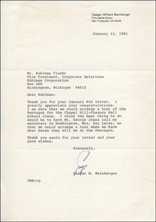 Autographs: CASPAR W. WEINBERGER - TYPED LETTER SIGNED 01/13/1981